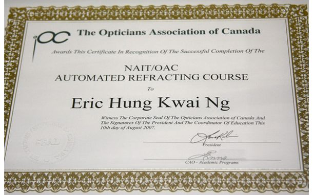 NAIT / OAC Automated Refracting Course certificate for Eric Hung Kwai Ng