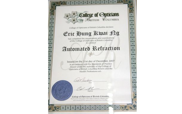 Automated Refraction certification for Eric Hung Kwai Ng