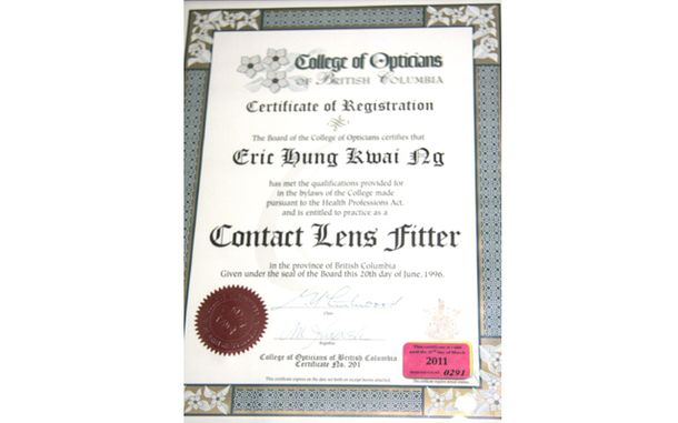 Contact Lens Fitter certification for Eric Hung Kwai Ng