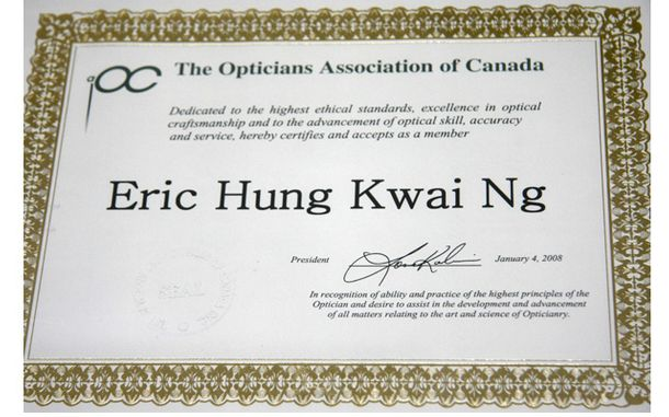 The Opticians Association of Canada membership for Eric Hung Kwai Ng